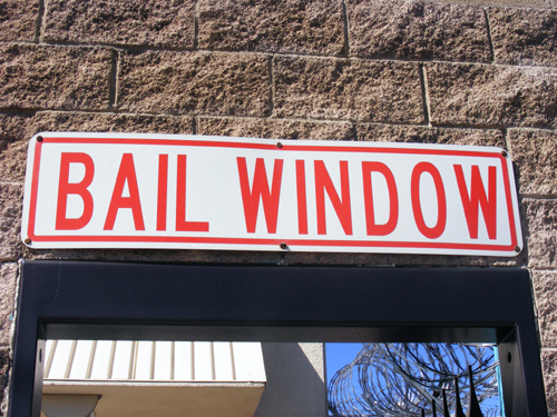 Bail Window Sign at the City of Las Vegas Detention Centers